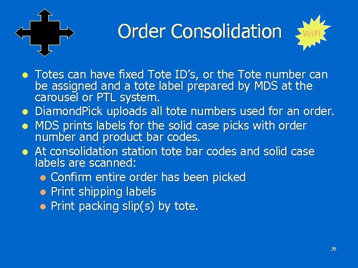 Order Consolidation Wi. Fi Totes can have fixed Tote ID's, or the Tote number