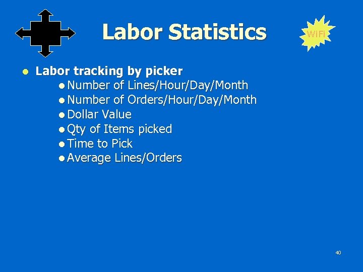 Labor Statistics l Wi. Fi Labor tracking by picker l Number of Lines/Hour/Day/Month l