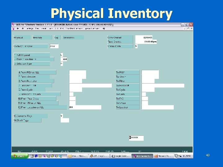 Physical Inventory 43