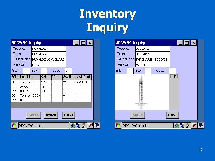 Inventory Inquiry 45