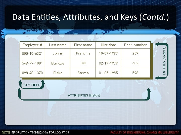 Data Entities, Attributes, and Keys (Contd. )