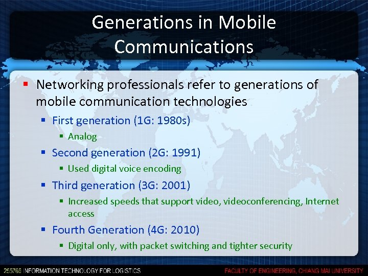 Generations in Mobile Communications § Networking professionals refer to generations of mobile communication technologies