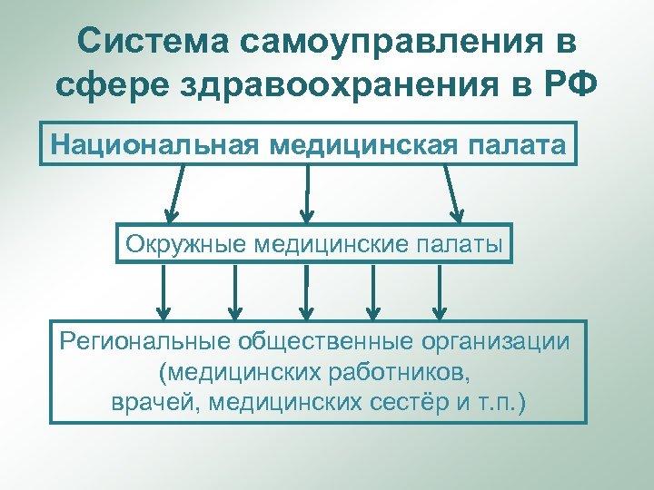 Система самоуправления в сфере здравоохранения в РФ Национальная медицинская палата Окружные медицинские палаты Региональные