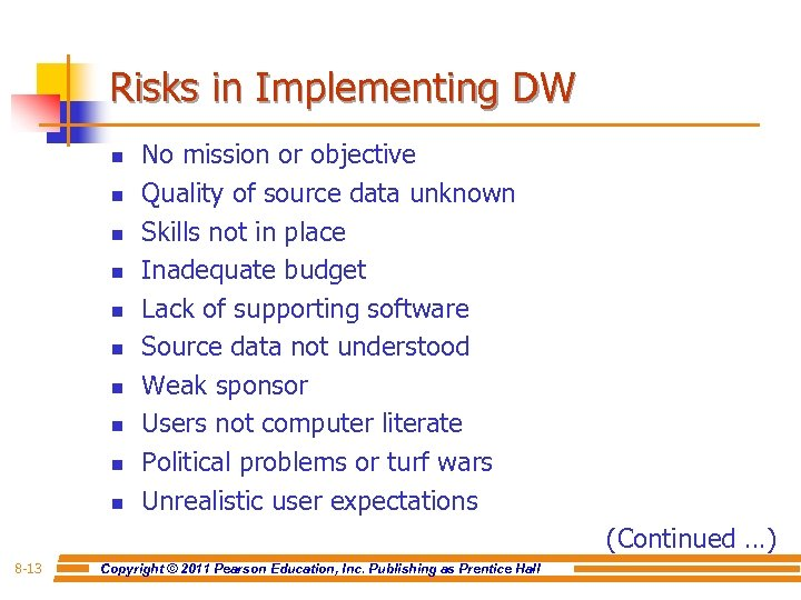 Risks in Implementing DW n n n n n No mission or objective Quality