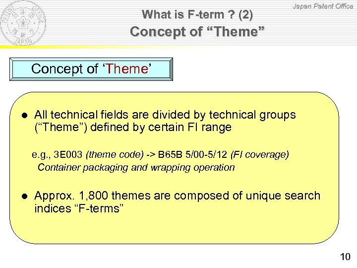 """What is F-term ? (2) Japan Patent Office Concept of """"Theme"""" Concept of 'Theme'"""