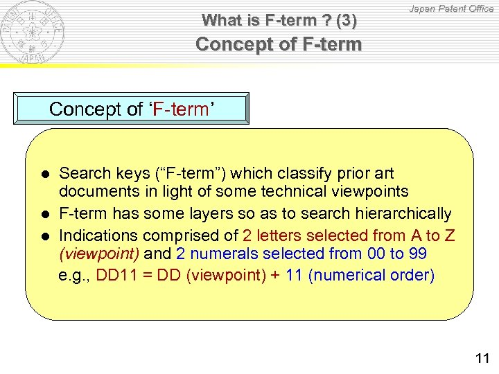 What is F-term ? (3) Japan Patent Office Concept of F-term Concept of 'F-term'