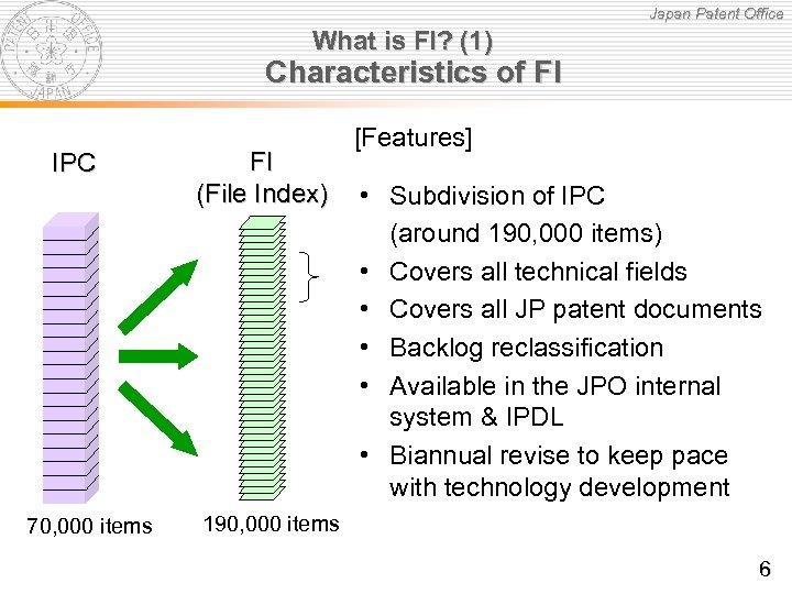Japan Patent Office What is FI? (1) Characteristics of FI IPC 70, 000 items