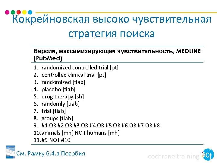 Кокрейновская высоко чувствительная стратегия поиска Версия, максимизирующая чувствительность, MEDLINE (Pub. Med) 1. randomized controlled