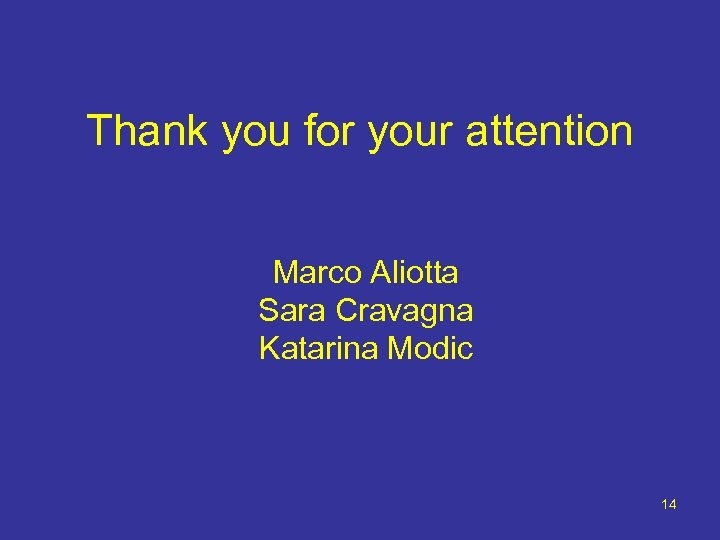 Thank you for your attention Marco Aliotta Sara Cravagna Katarina Modic 14