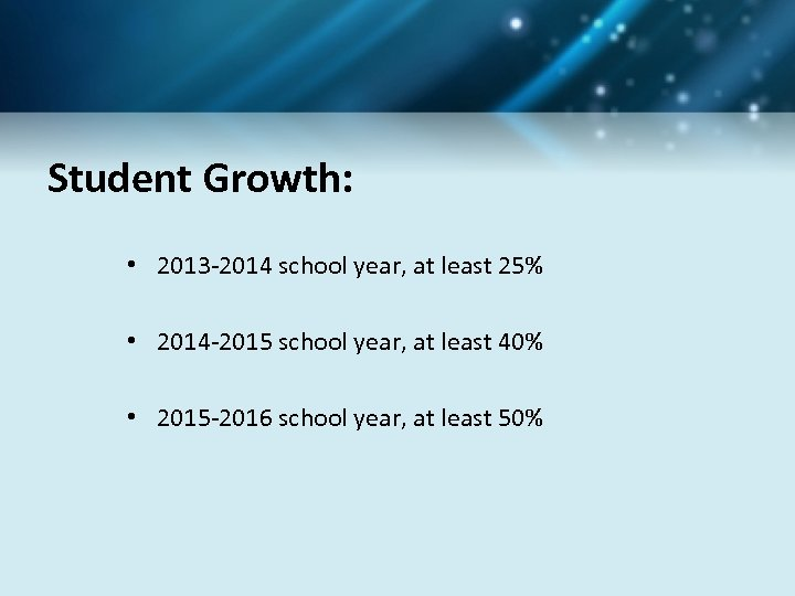 Student Growth: • 2013 -2014 school year, at least 25% • 2014 -2015 school