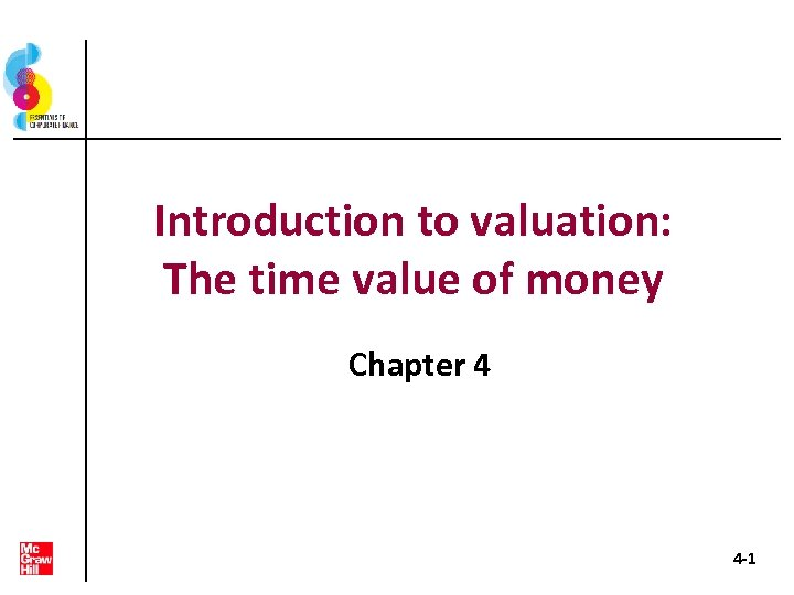 Introduction to valuation: The time value of money Chapter 4 4 -1