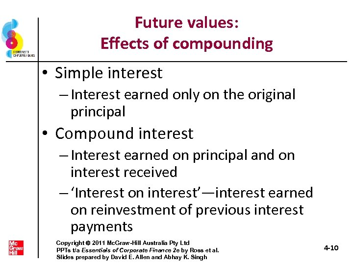 Future values: Effects of compounding • Simple interest – Interest earned only on the