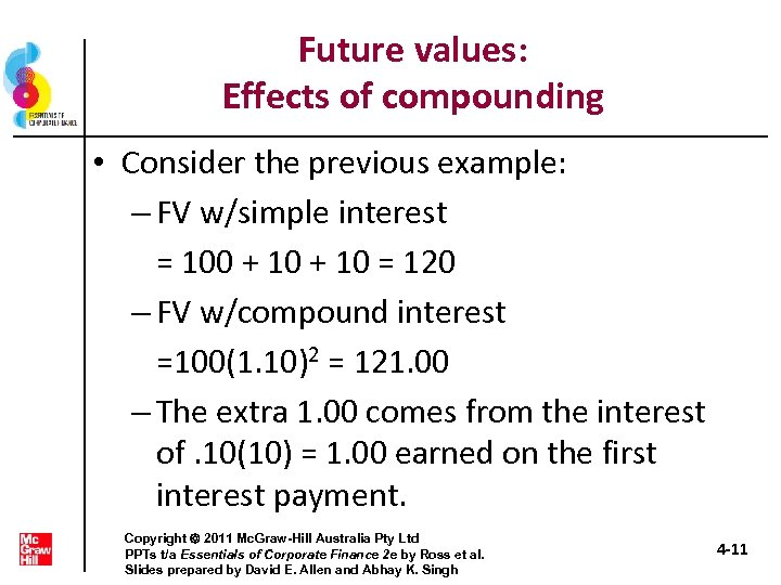 Future values: Effects of compounding • Consider the previous example: – FV w/simple interest