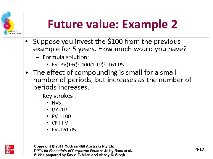 Future value: Example 2 • Suppose you invest the $100 from the previous example