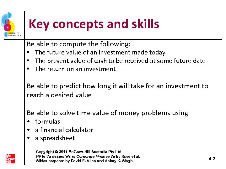 Key concepts and skills Be able to compute the following: • The future value