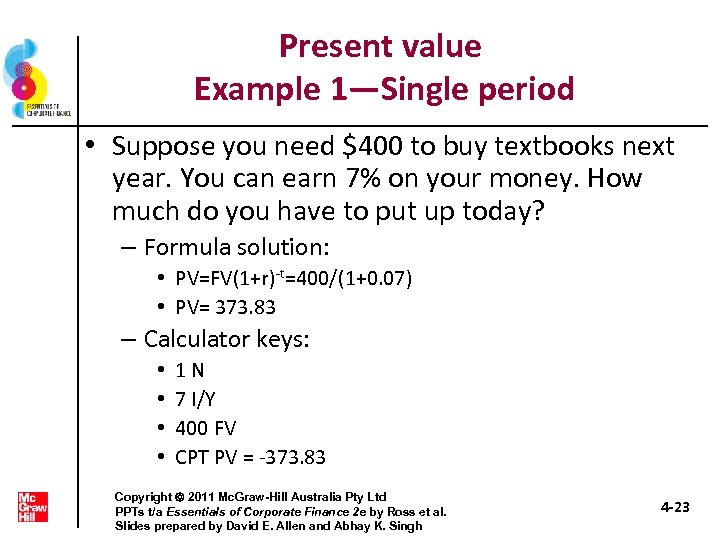 Present value Example 1—Single period • Suppose you need $400 to buy textbooks next