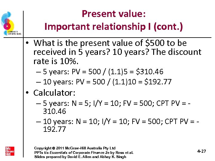 Present value: Important relationship I (cont. ) • What is the present value of