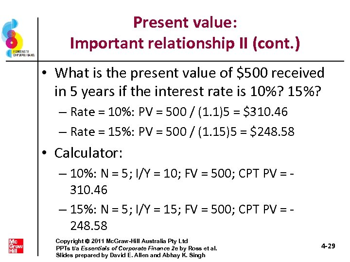 Present value: Important relationship II (cont. ) • What is the present value of