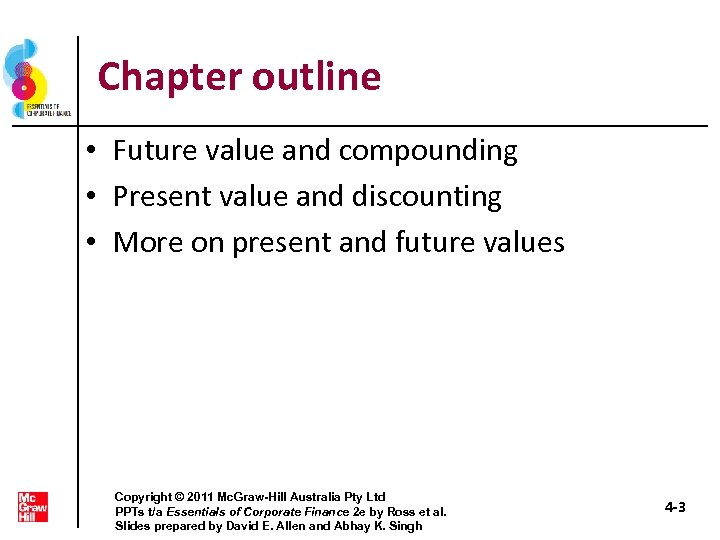 Chapter outline • Future value and compounding • Present value and discounting • More