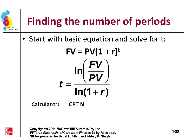 Finding the number of periods • Start with basic equation and solve for t: