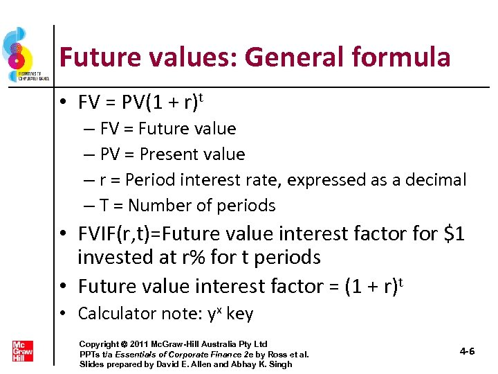 Future values: General formula • FV = PV(1 + r)t – FV = Future
