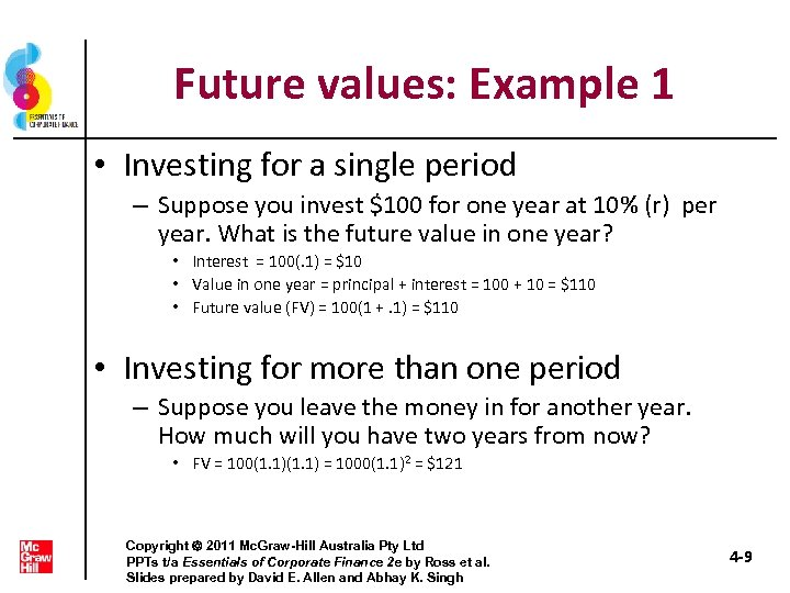 Future values: Example 1 • Investing for a single period – Suppose you invest
