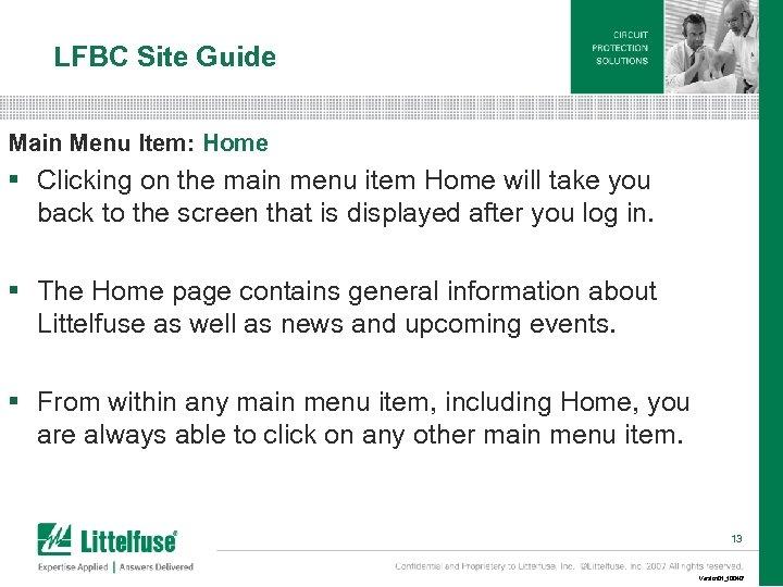 LFBC Site Guide Main Menu Item: Home § Clicking on the main menu item