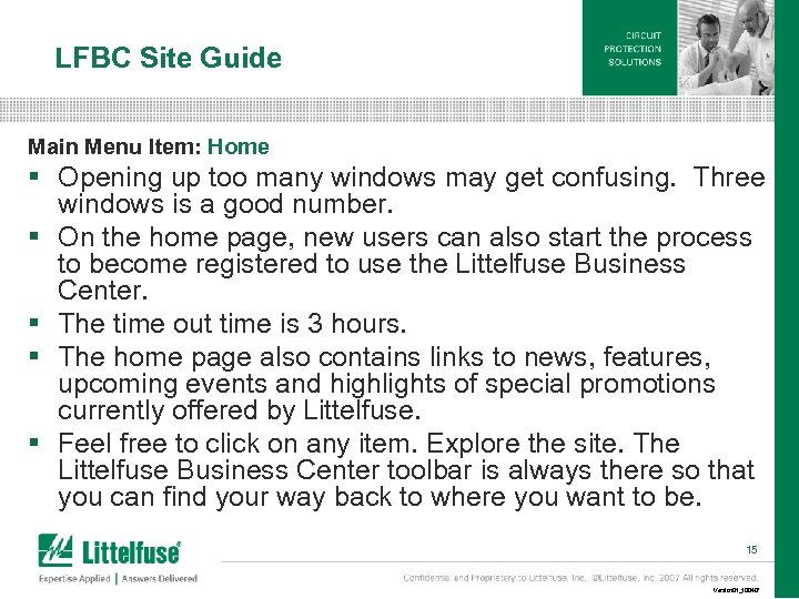 LFBC Site Guide Main Menu Item: Home § Opening up too many windows may