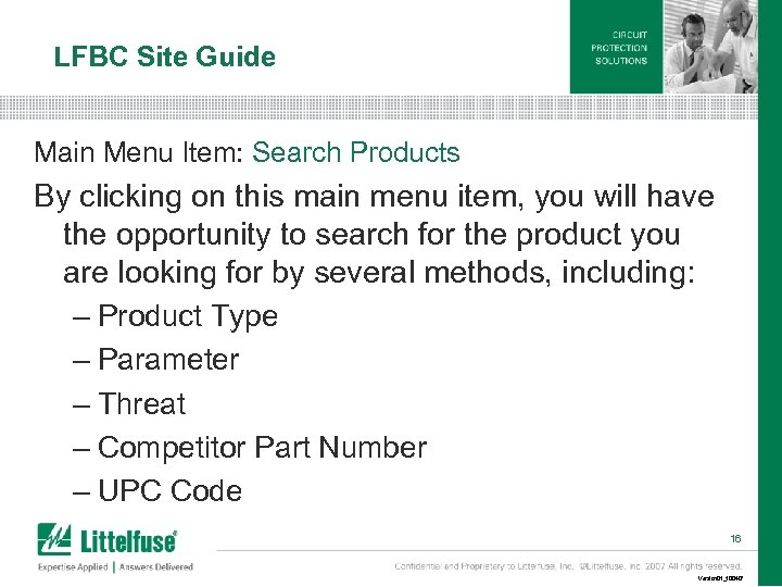 LFBC Site Guide Main Menu Item: Search Products By clicking on this main menu
