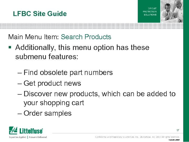 LFBC Site Guide Main Menu Item: Search Products § Additionally, this menu option has