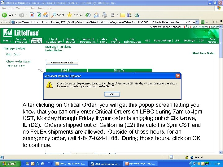 Intro to LFBC for PG Distributors After clicking on Critical Order, you will get