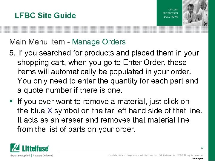 LFBC Site Guide Main Menu Item - Manage Orders 5. If you searched for