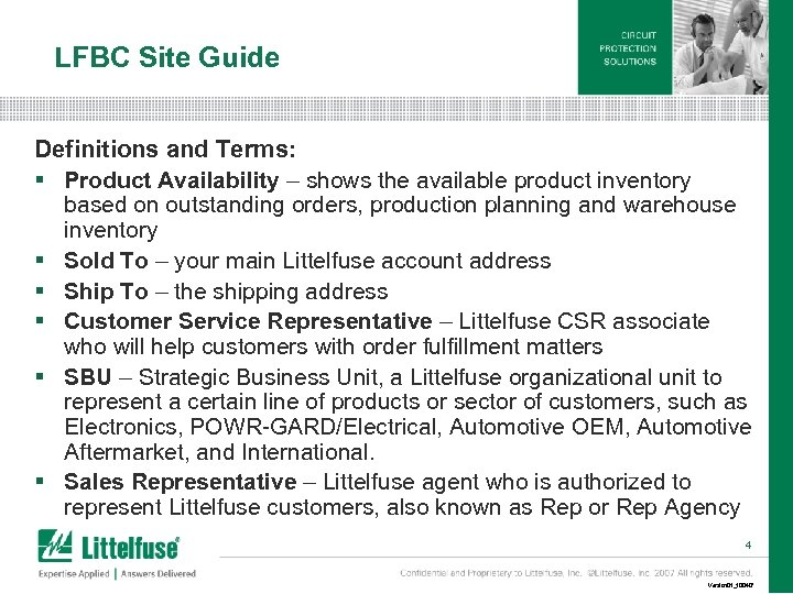 LFBC Site Guide Definitions and Terms: § Product Availability – shows the available product