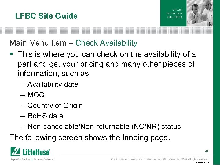 LFBC Site Guide Main Menu Item – Check Availability § This is where you