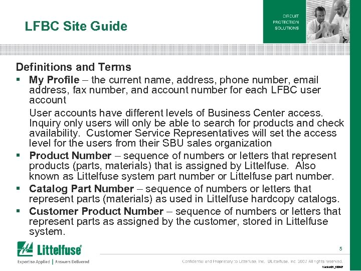 LFBC Site Guide Definitions and Terms § My Profile – the current name, address,