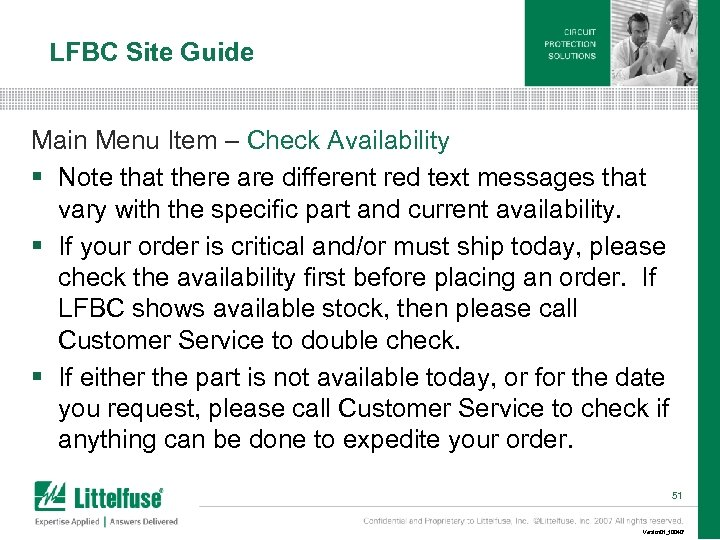 LFBC Site Guide Main Menu Item – Check Availability § Note that there are
