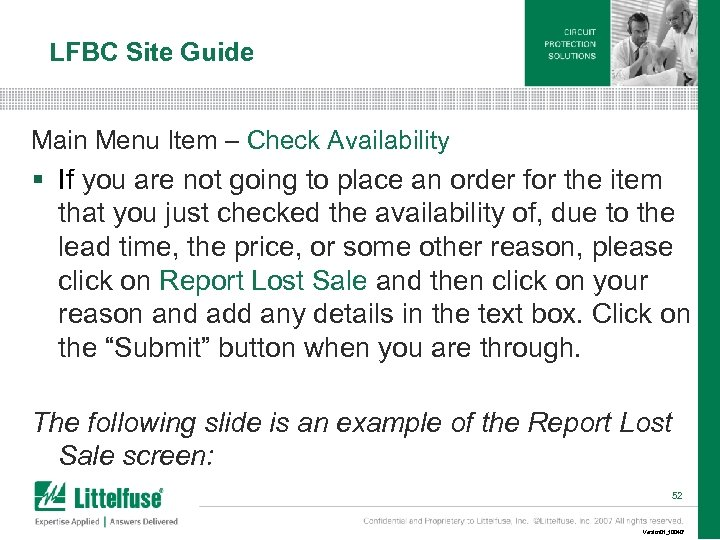LFBC Site Guide Main Menu Item – Check Availability § If you are not