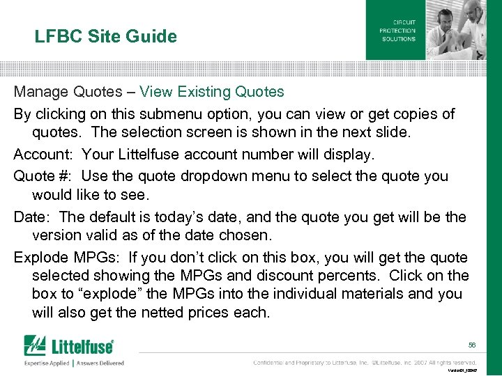 LFBC Site Guide Manage Quotes – View Existing Quotes By clicking on this submenu