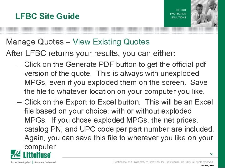 LFBC Site Guide Manage Quotes – View Existing Quotes After LFBC returns your results,