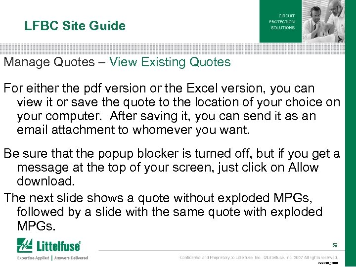 LFBC Site Guide Manage Quotes – View Existing Quotes For either the pdf version