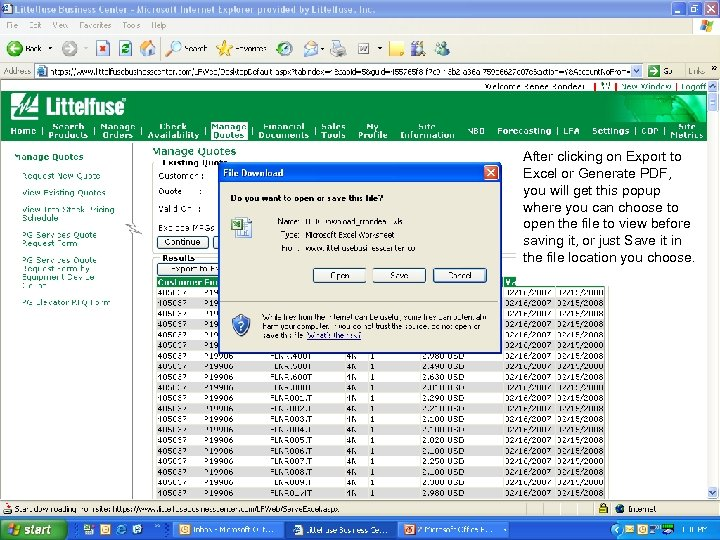 LFBC Update for PG Reps After clicking on Export to Excel or Generate PDF,