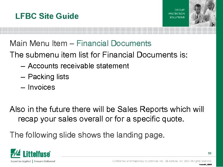 LFBC Site Guide Main Menu Item – Financial Documents The submenu item list for