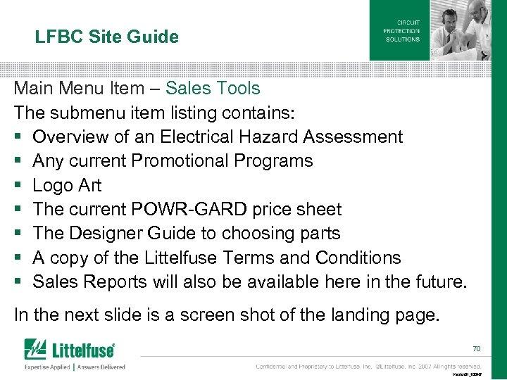 LFBC Site Guide Main Menu Item – Sales Tools The submenu item listing contains: