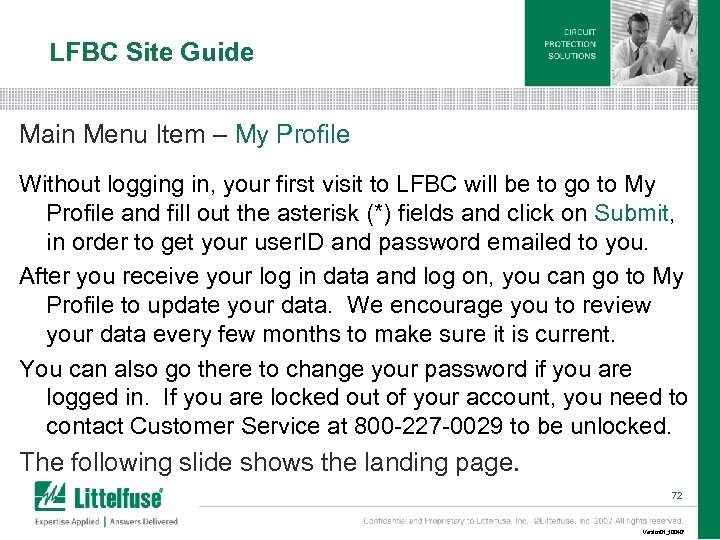 LFBC Site Guide Main Menu Item – My Profile Without logging in, your first