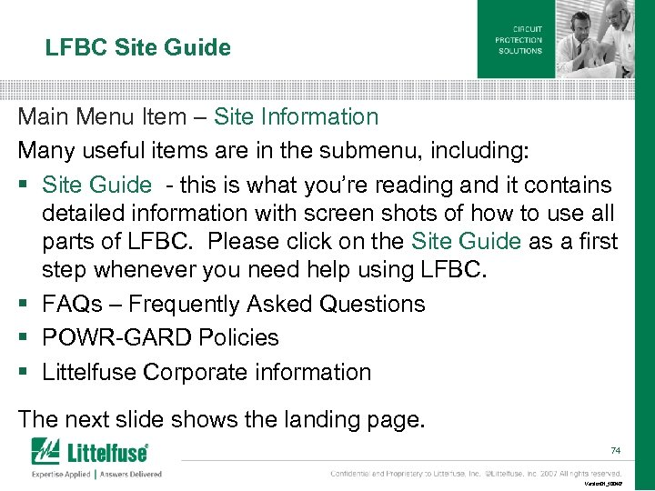 LFBC Site Guide Main Menu Item – Site Information Many useful items are in