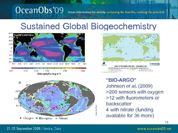 "Sustained Global Biogeochemistry ""BIO-ARGO"" Johnson et al. (2009) >200 sensors with oxygen >12 with"
