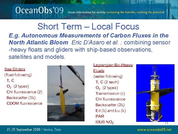 Short Term – Local Focus E. g. Autonomous Measurements of Carbon Fluxes in the