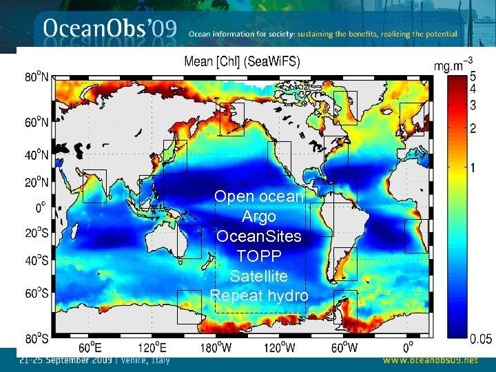 Open ocean Argo Ocean. Sites TOPP Satellite Repeat hydro 29