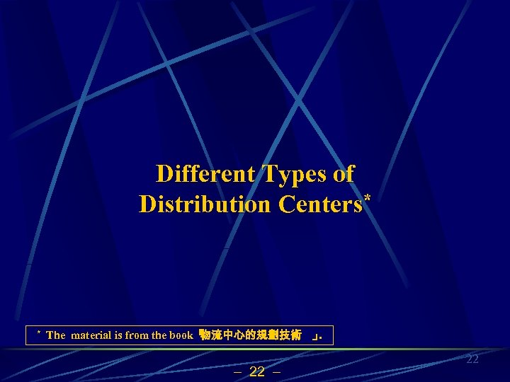Different Types of Distribution Centers* * The material is from the book「 物流中心的規劃技術 」.