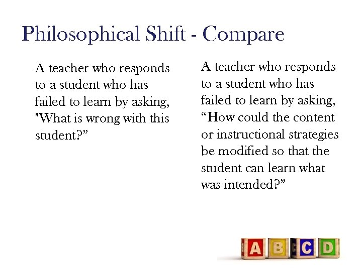 Philosophical Shift - Compare A teacher who responds to a student who has failed